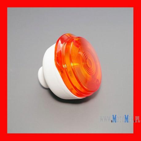 Kierunkowskaz okrągły przód, korpus biały, klosz pomarańczowy Simson, MZ