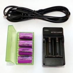 Zestaw ładowarka 4 sztuki akumulatorków CR123 i pudełko