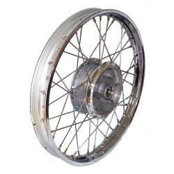 The spoked wheel (rim 1,50x16 in chrome-plated steel without lettering) with hub 16 (all moped types)