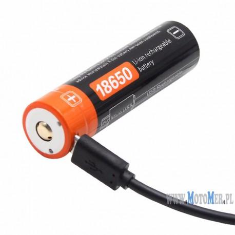 Akumulator 18650 z USB 3,7V 2600 mAh 9,62Wh litowy