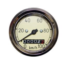 Speedometer Tacho Chrome Ø60mm bis 100 km/h MZ RT 125